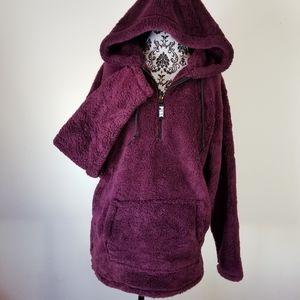 PINK Victoria's Secret Pullover Teddy Hoodie Plum
